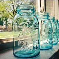 Vintage Ball  Perfect Mason Jar Aqua Blue Wedding Centerpiece Vase