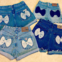 High Waisted Denim Shorts Bow Shorts Custom Made by shortyshorts