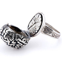 Silver Anatomical Brain Ring