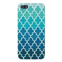 Aqua Ombre Quatrefoil Case For iPhone 5 from Zazzle.com