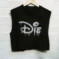 Sleeveless unisex DIE glitter Disney-esque top