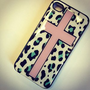 BLACK Snap On Case iPhone 4 4S Plastic - Pink Cross Mint Leopard Print teal aqua tiffany: Cell Phones & Accessories
