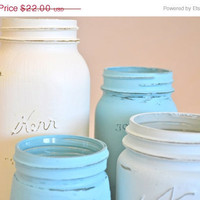 ON SALE Hand Painted Blue and White Mason Jars - Set of 4
