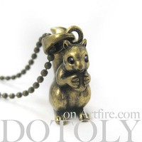 ONE DOLLAR SALE - 3D Squirrel Chipmunk Animal Charm Necklace in Bronze