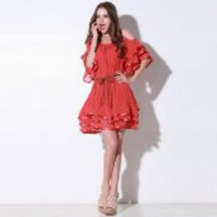 Bqueen Round Neck Chiffon Dress Q12139R - Designer Shoes|Bqueenshoes.com