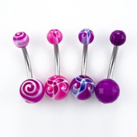 5 Pk-14G Surgical Steel Belly Rings:2 Pink/Purple Flowers-1 Swirl-1 Purple-1 Retainer-Gift Box: Jewelry