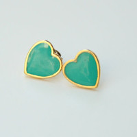 Mint 24k Gold plated Heart stud Earrings by TheUrbanLady on Etsy
