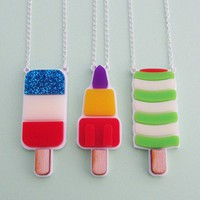 Retro Ice Lolly Necklaces from Hand Over Your Fairy Cakes | Made By Hand Over Your Fairy Cakes | £24.00 | Bouf