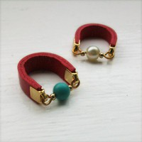 Dot ring - red and turquoise from Me By Amma Gyan | Made By Amma Gyan Jewellery | £40.00 | Bouf