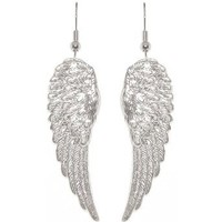 Nickel Free 1 7/8&amp;quot; Angel Wings Earrings In Silver Tone: Cora Hysinger: Clothing