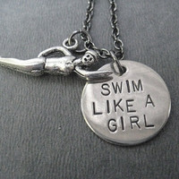SWIM Like a GIRL 2 Charm Necklace - Swimming Necklace on 18 inch gunmetal chain - Triathlete Necklace - Swim Jewelry - Swim Team