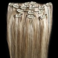 "Amazon.com: Full Head 20"" 100% REMY Human Hair Extensions 7Pcs Clip in #18/613 Mixed Blonde: Beauty"