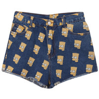 "ROMWE | ""Simpson"" Dark Blue Shorts, The Latest Street Fashion"