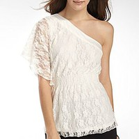 Chime One Shoulder Lace Top : jcpenney