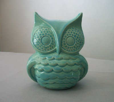 Turquoise Ceramic Owl Decor For Home Or From Tlcceramicsil On