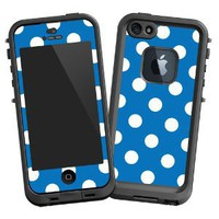 "White Polka Dot on Blue ""Protective Decal Skin"" for LifeProof 5 Case: Electronics"