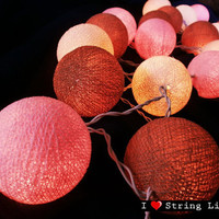 Light Pink Light Brown and Ivory Cotton Ball String Lights For Wedding House decoration and Party Supply (20 Balls /Set)