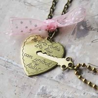 Key to My Heart - Heart and Key Couple`s Necklace - BONUS PACK with Baby Loves Pink Pin Button and Gift Wrap: Everything Else