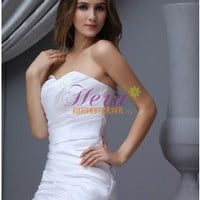 Ruffles Mermaid/Trumpet Sweetheart Neck Chapel Train White Wedding Dress