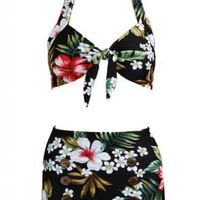 Amazon.com: Floral Hawaiian Retro Pin up Rockabilly Women's Bathing Suit Swimsuit Swimwear Bikini: Clothing