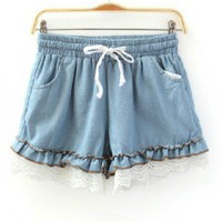 Drawstring Elastic Waist Denim Shorts with Lace Trims