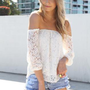White Lace Off the Shoulder Top with Sheer Sleeves