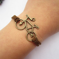 Bike bracelet---antique bronze love bike & brown wax rope chain