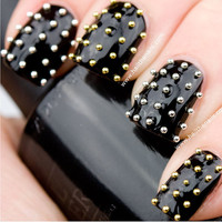 Gold &amp; Silver Metallic Caviar Studs Nail Art  This by Hailthenails