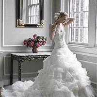 [187.03] Glamorous Satin & Organza Satin Ball Gown Sweetheart Neckline Wedding Dress With Handmade Flower & Feather - Dressilyme.com