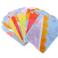 Set of 17 Gift Tags Blue Floral Red Orange Purple