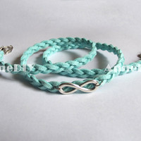 Infinity Bracelet - Mint bracelet with silver Infinity charm, blue bracelet, bracelet for girlfriend, birthday gifts, friendship MORE COLORS