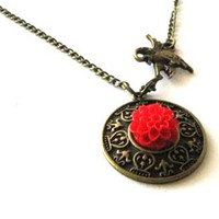 Red Resin Flower Necklace With Crane Pendant - Chrysanthemum Mum Resin Flower | Luulla