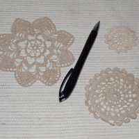 Set of 3 small vintage handmade round crochet doilies