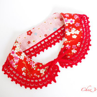 Collar Necklace Red Handmade crochet Peter Pan Collar Necklace Japanese fabric