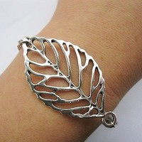 Silver large leaves bracelet