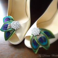 Peacock Shoe Clips Green peacock leaves Shoe by MyDreamWedding