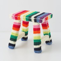 Fuzzy Rainbow Foot Stool