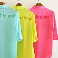heart cut chiffon sleeve shirt