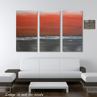 Red Sunset: Triptych Large Modern Original Abstract Canvas Acrylic Painting - Bright Red Sunset, Grey Ocean 3 Panels of 12 x 24