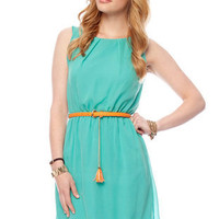 Beverly Belted Tank Dress in Seafoam :: tobi