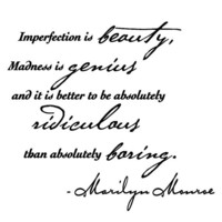 Marilyn Monroe wall decal quote sticker &quot;- Imperfection is beauty...&quot;