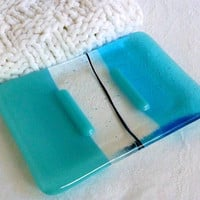 Light Turquoise Glass Soap Dish