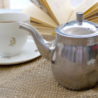 Stainless Steel Single Serving Kettle, Vintage small Teapot, Silver Creamer, Retro Kitchenware, French country, Cottage chic, Small Pitcher