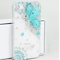 Deluxe Butterfly Bling Diamond Battery Handmade Case Cover For iPhone 4 4S 5 5G