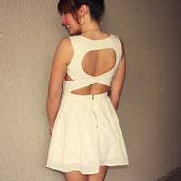 Je t'aime Heart Cutout Dress (Ivory)