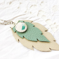 Mint and beige leather feather necklase
