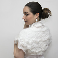 Short White Shrug, Lace Mohair Shrug ODETTE, Wedding Bridal Bolero by Solandia, S and M sizes, spring, summer, fall