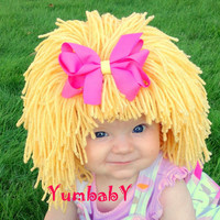 Baby Hat- Blonde Wig Hat- Girl Wig- Halloween Costume Girls- Princess Costume- Yellow Wig- Baby Costume- Girl Photo Prop, Pageant