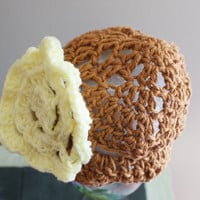 Brown Baby Hat, Crochet Baby Cloche, Cotton Baby Cap, Infant Beanie, Baby Spring Hat, Baby Summer Hat, Crochet Baby Cap, Brown Infant Cap