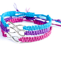 3 Infinity Friendship Bracelets Turquoise Purple Fuchsia Hemp